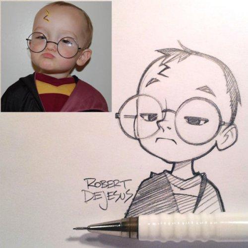 Художник превращает людей в мультяшных персонажей (21 фото)
