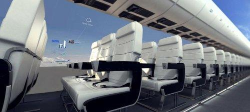 Через 10 лет пассажиры смогут наслаждаться панорамными видами неба в самолётах без окон (5 фото)