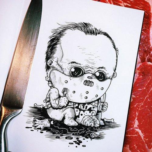 Персонажи фильмов ужасов в роли младенцев (31 фото)