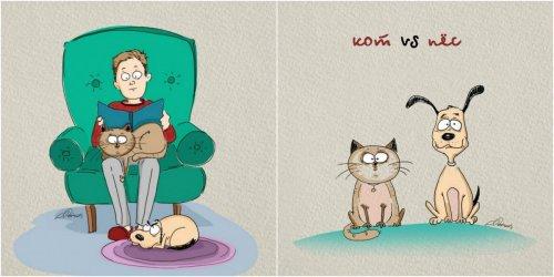 Иллюстрации художника Bird Born: кот vs. пёс (6 фото)