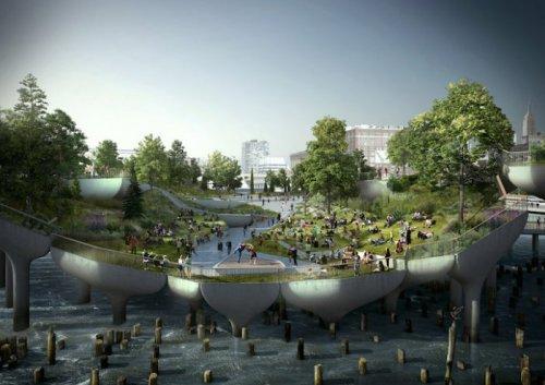 В Нью-Йорке началось строительство парка на Гудзоне (8 фото)