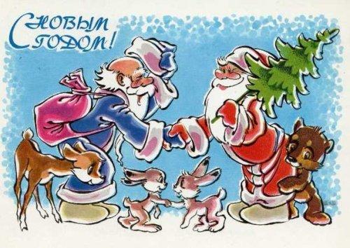 Новогодние открытки времён СССР (35 шт)