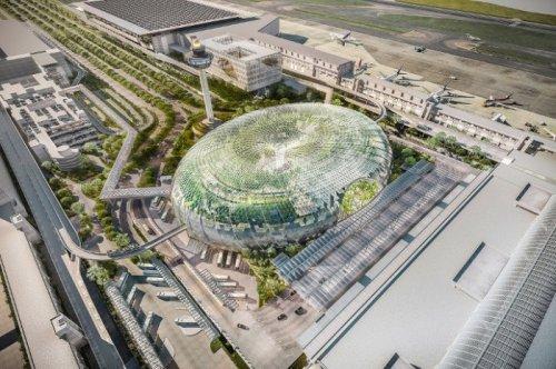 В аэропорту Сингапура построят огромную оранжерею с водопадом (5 фото)