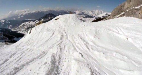 Захватывающий спуск на лыжах, снятый на камеру GoPro