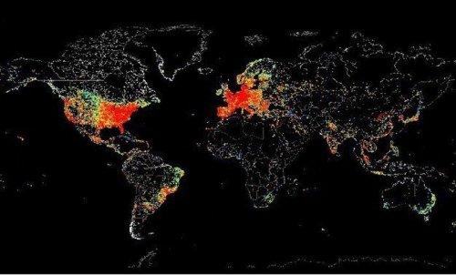 Графическая карта мира, демонстрирующая использование Интернета (5 фото)