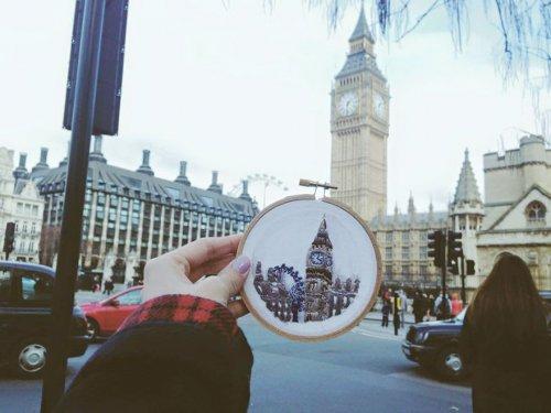 Страсть к путешествиям в вышитых сувенирах Терезы Лим (9 фото)