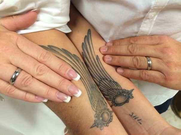 фото тату крылья для пары образ навевает