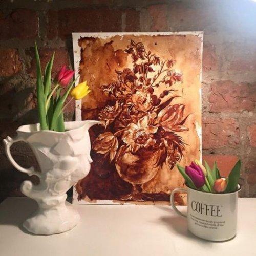 Замечательные рисунки, созданные с помощью кофе (22 фото)