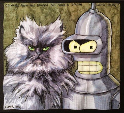 Роботы и котики на салфетках – для любимых сыновей (15 фото)