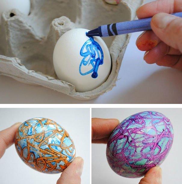Раскрасил яйца своими руками
