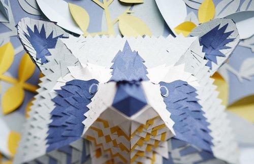 Маски животных, склеенные из множества маленьких кусочков бумаги (7 фото)