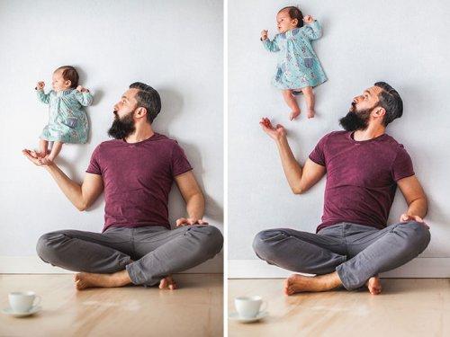 Оригинальная фотосессия с новорождённой дочкой (9 фото)
