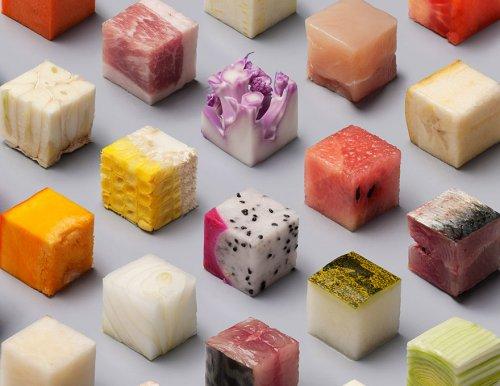 Идеальные кубики из продуктов питания (6 фото)