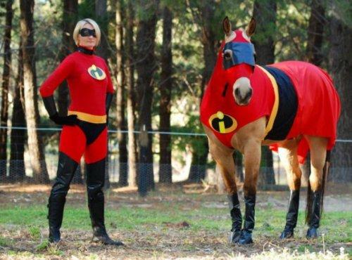 Лошади и наездники в необычных костюмах (10 фото)
