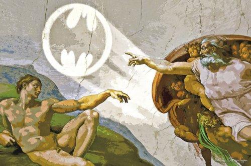 """Знаменитые картины, переделанные в поп-арт, посвящённый """"Бэтмену"""" (5 фото)"""