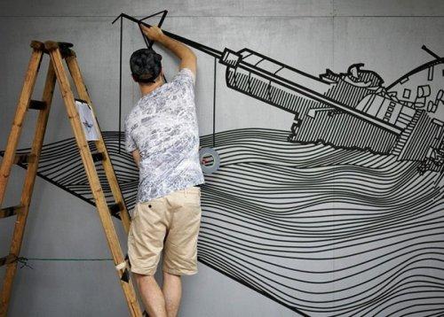 Рисунки из скотча стрит-арт художника Буффа Дисса (17 фото)