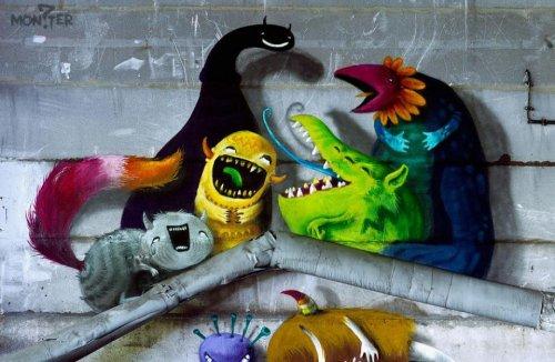 Монстры стрит-арт художника Кима Квач (17 фото)