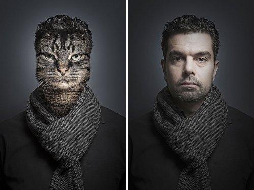Люди со своими кошками в проекте Себастьяна Маньяни (12 фото)