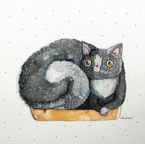 Коты в иллюстрациях литовской художницы Норвиль (10 фото)