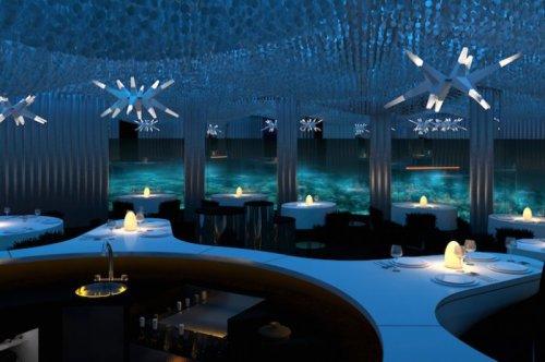 """Ресторан """"Per Aquum"""" на Мальдивах для любителей подводного мира (5 фото)"""