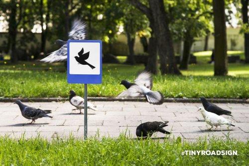 Крошечные дорожные знаки на улицах Вильнюса (4 фото)