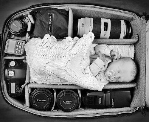 Мой папа — фотограф, или Малыши в фотосумках (10 фото)