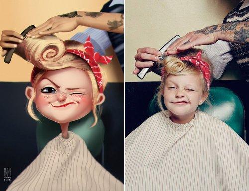 Забавные иллюстрации, перерисованные с фотографий (12 шт)