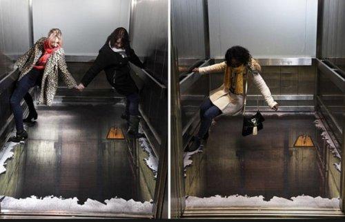 3D-рисунки в лифтах для настоящих смельчаков (10 фото)