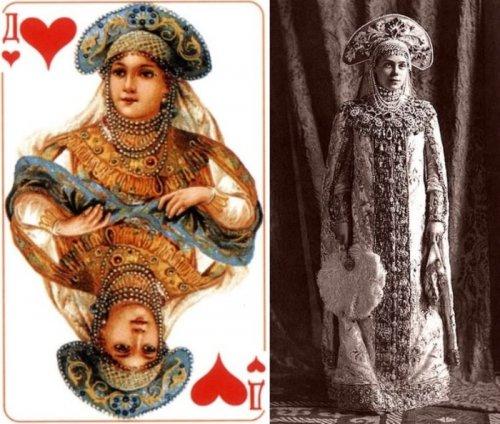 """Изображения на колоде карт """"Русский стиль"""" и их прототипы (6 фото)"""