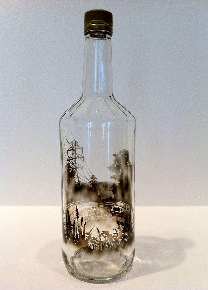 открытка с помощью бутылки поделка