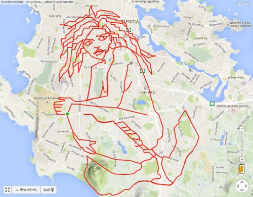"Велосипедист ""рисует"" на карте города картинки с помощью GPS (18 фото)"