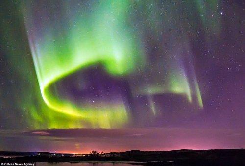 Северное сияние в виде птицы Феникс над Исландией (5 фото)
