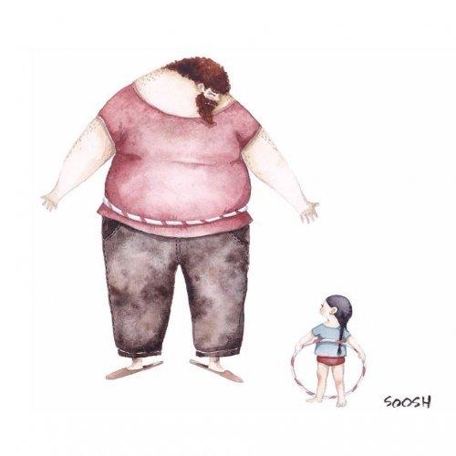 О папиной любви к дочери — в акварельных рисунках Снежаны Суш (15 шт)