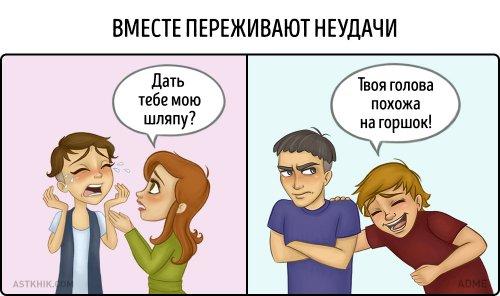 Разница между мужской и женской дружбой в комиксах (9 шт)