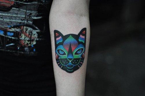 Татуировки для любителей котиков и космоса (19 фото)