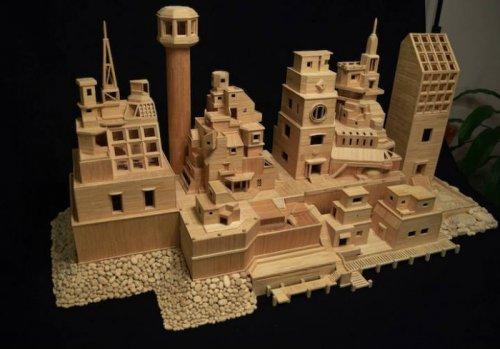 Миниатюрный город из зубочисток (17 фото)