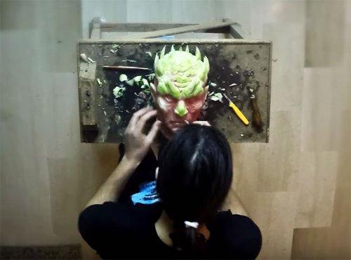 """Король Ночи из """"Игры престолов"""", вырезанный из арбуза (5 фото + видео)"""