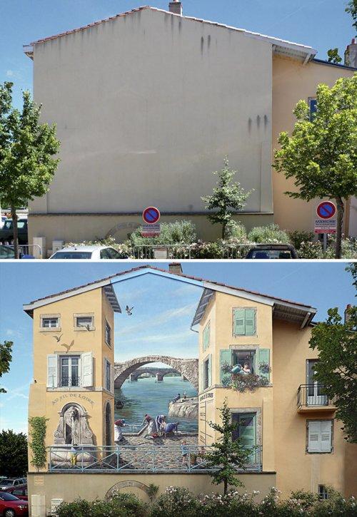 Ожившие фасады домов вместо скучных стен (25 фото)