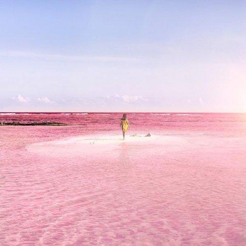 Розовая лагуна на полуострове Юкатан (10 фото)