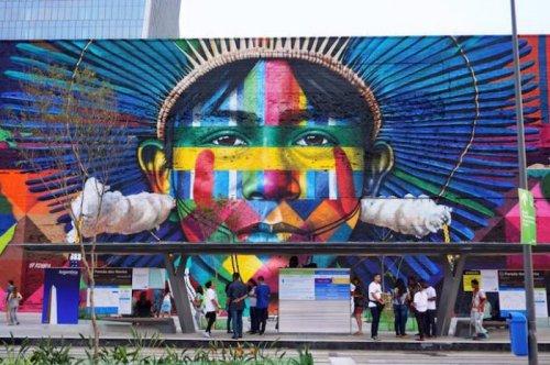 Гигантский стрит-арт, посвящённый Олимпиаде, от Эдуардо Кобра (7 фото)