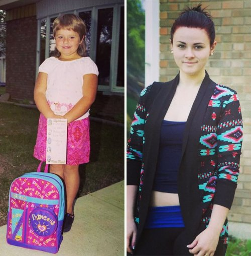Забавные сравнительные фотографии первого и последнего дня в школе (19 фото)