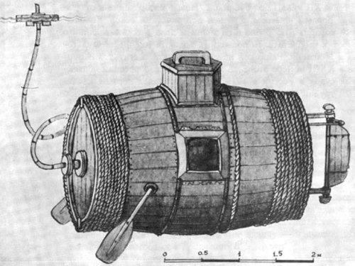 Эта деревянная бочка была первой в мире военной подводной лодкой (6 фото)