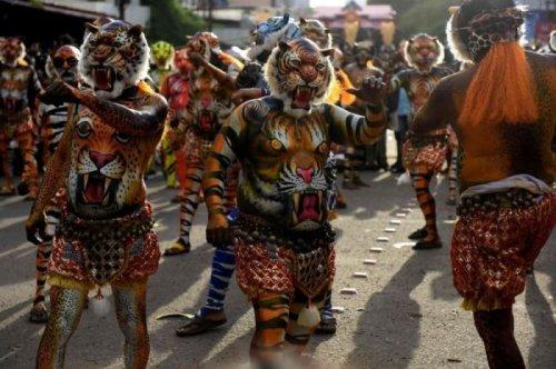 """""""Тигриный"""" парад Пуликкали на фестивале в Индии (12 фото)"""