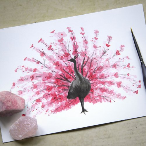 Акварельные рисунки животных из цветущей вишни (5 фото)