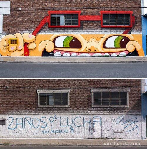 Улицы до и после стрит-арт перевоплощения (22 фото)