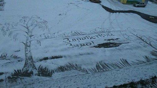 Дворник-художник Семён Бухарин из Ижевска и его зимние картины (6 фото + 2 видео)