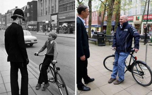 Уличный фотограф воспроизвёл снимки, сделанные десятилетия назад на улицах Питерборо (29 фото)