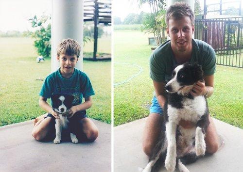 """Фотографии собак """"до и после"""", выросших вместе со своими владельцами (34 фото)"""