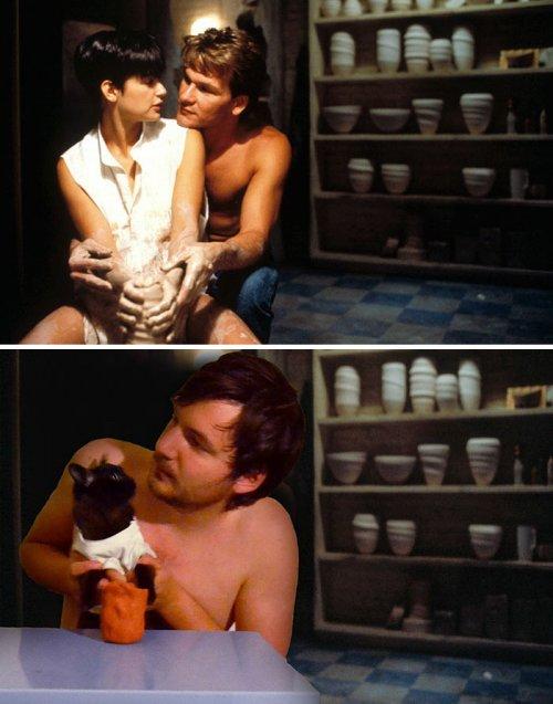 Известные сцены из фильмов, воссозданные с участием кошек (5 фото)