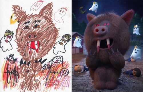 The Monster Project: художники воссоздают детские каракули в своём стиле (29 фото)